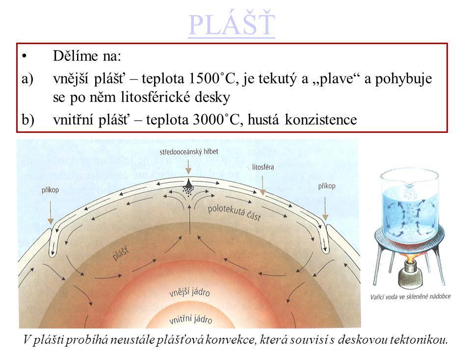 """PLÁŠŤ Dělíme na: a)vnější plášť – teplota 1500˚C, je tekutý a """"plave a pohybuje se po něm litosférické desky b)vnitřní plášť – teplota 3000˚C, hustá konzistence V plášti probíhá neustále plášťová konvekce, která souvisí s deskovou tektonikou."""