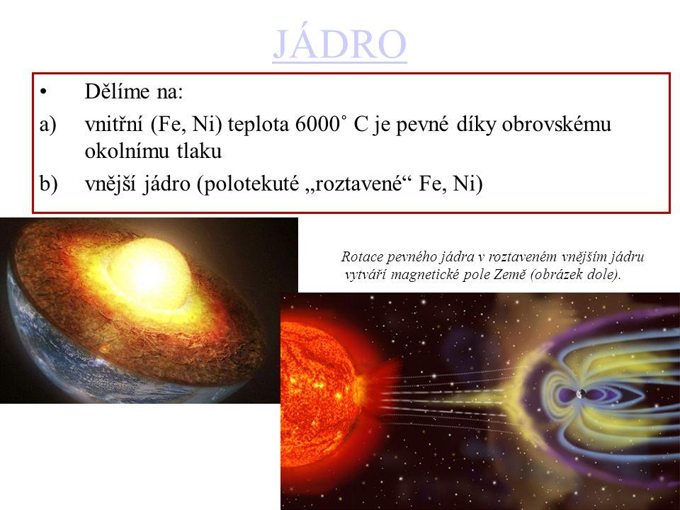 """JÁDRO Dělíme na: a)vnitřní (Fe, Ni) teplota 6000˚ C je pevné díky obrovskému okolnímu tlaku b)vnější jádro (polotekuté """"roztavené Fe, Ni) Rotace pevného jádra v roztaveném vnějším jádru vytváří magnetické pole Země (obrázek dole)."""