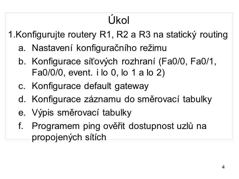 Úkol 1.Konfigurujte routery R1, R2 a R3 na statický routing a.Nastavení konfiguračního režimu b.Konfigurace síťových rozhraní (Fa0/0, Fa0/1, Fa0/0/0,