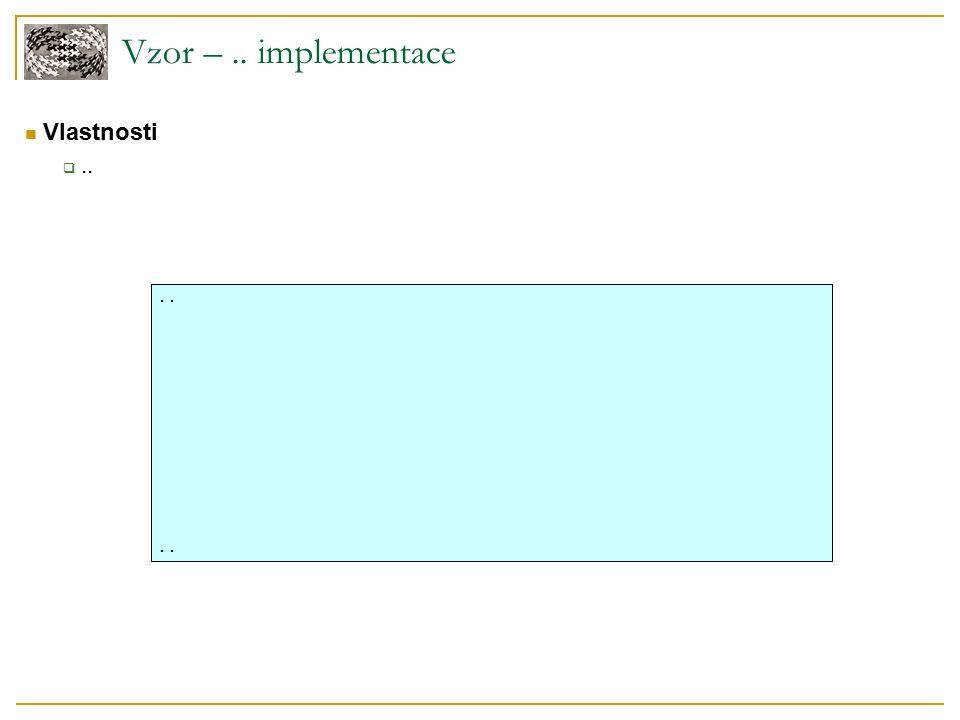 Vzor –.. implementace Vlastnosti ....