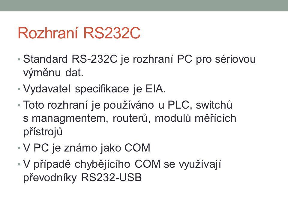 Rozhraní RS232C Standard RS-232C je rozhraní PC pro sériovou výměnu dat.