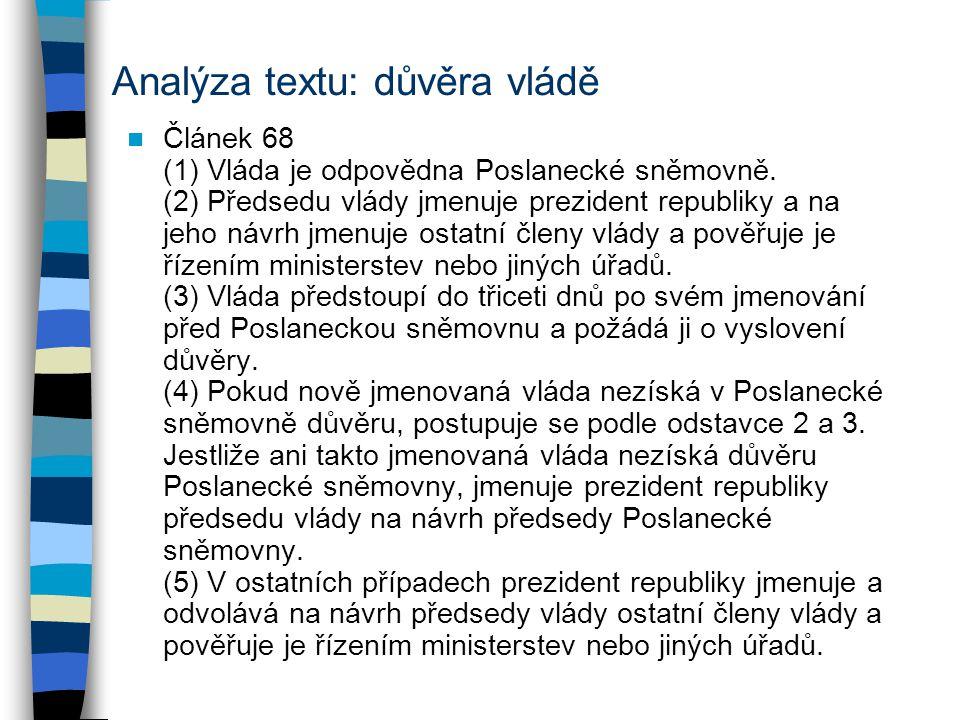 Analýza textu: důvěra vládě Článek 68 (1) Vláda je odpovědna Poslanecké sněmovně. (2) Předsedu vlády jmenuje prezident republiky a na jeho návrh jmenu