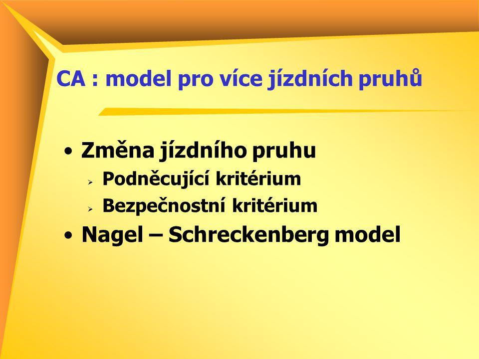 CA : model pro více jízdních pruhů Změna jízdního pruhu  Podněcující kritérium  Bezpečnostní kritérium Nagel – Schreckenberg model