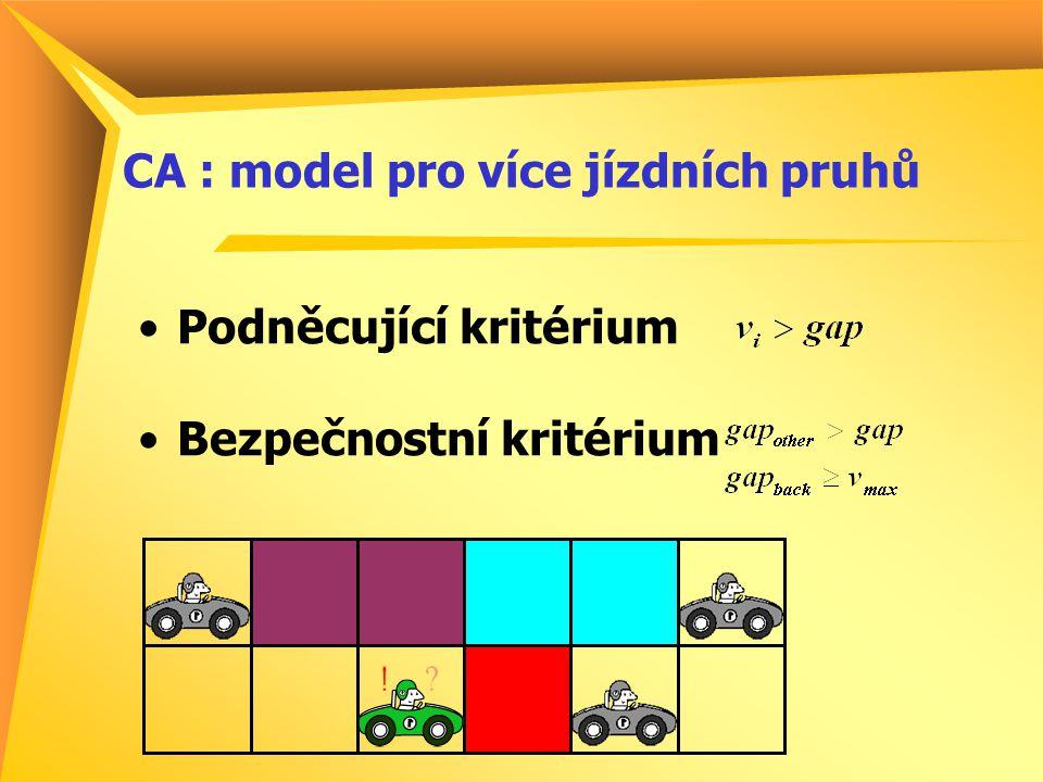 CA : model pro více jízdních pruhů Podněcující kritérium Bezpečnostní kritérium