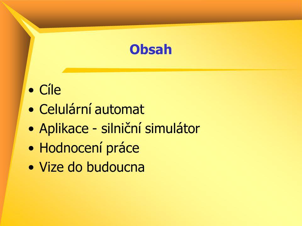 Obsah Cíle Celulární automat Aplikace - silniční simulátor Hodnocení práce Vize do budoucna