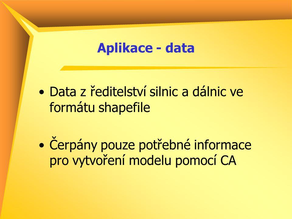 Aplikace - data Data z ředitelství silnic a dálnic ve formátu shapefile Čerpány pouze potřebné informace pro vytvoření modelu pomocí CA
