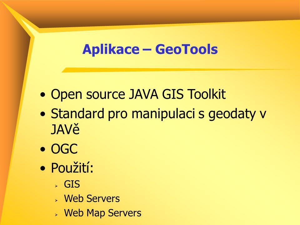 Aplikace – GeoTools Open source JAVA GIS Toolkit Standard pro manipulaci s geodaty v JAVě OGC Použití:  GIS  Web Servers  Web Map Servers