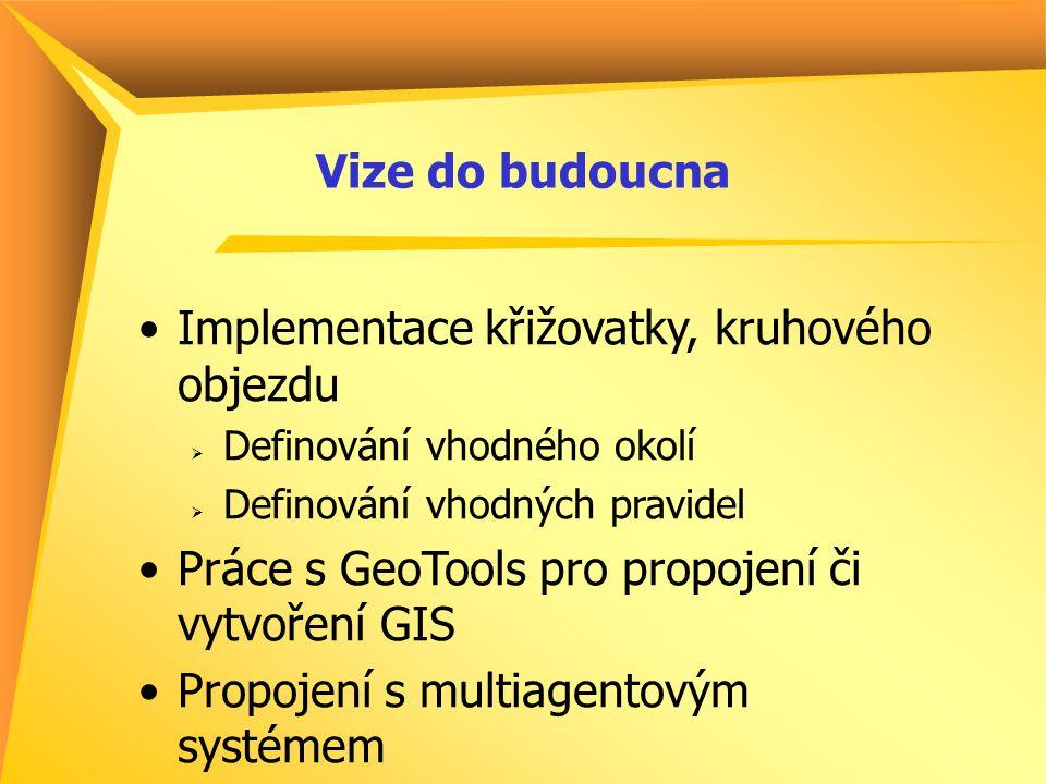 Vize do budoucna Implementace křižovatky, kruhového objezdu  Definování vhodného okolí  Definování vhodných pravidel Práce s GeoTools pro propojení či vytvoření GIS Propojení s multiagentovým systémem