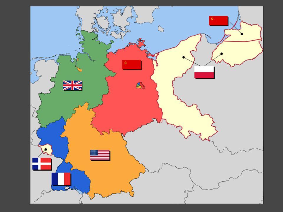 reakce Stalina – blokáda Berlína = první berlínská krize berlínská americká, francouzská a britská zóna byly odříznuty od zásobování, obklíčení vojenských posádek zásobování leteckým mostem červen 1948 – květen 1949
