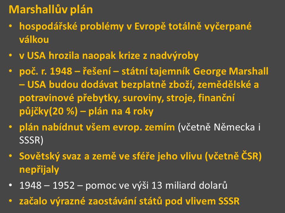 Marshallův plán hospodářské problémy v Evropě totálně vyčerpané válkou v USA hrozila naopak krize z nadvýroby poč. r. 1948 – řešení – státní tajemník