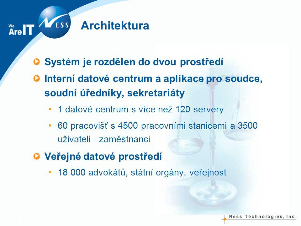Architektura Systém je rozdělen do dvou prostředí Interní datové centrum a aplikace pro soudce, soudní úředníky, sekretariáty 1 datové centrum s více než 120 servery 60 pracovišť s 4500 pracovními stanicemi a 3500 uživateli - zaměstnanci Veřejné datové prostředí 18 000 advokátů, státní orgány, veřejnost