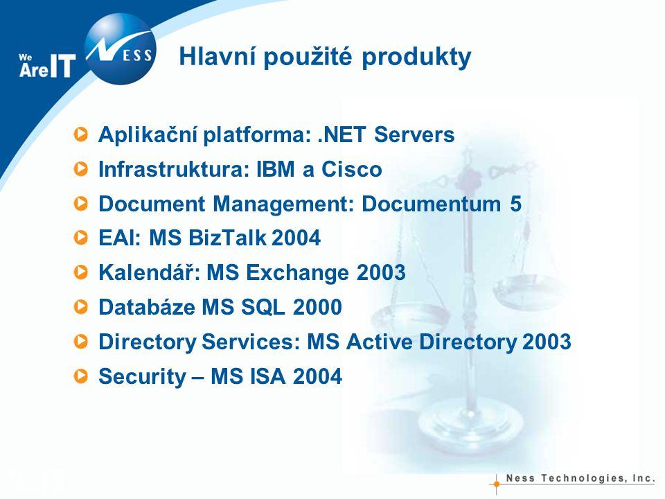 Hlavní použité produkty Aplikační platforma:.NET Servers Infrastruktura: IBM a Cisco Document Management: Documentum 5 EAI: MS BizTalk 2004 Kalendář: MS Exchange 2003 Databáze MS SQL 2000 Directory Services: MS Active Directory 2003 Security – MS ISA 2004