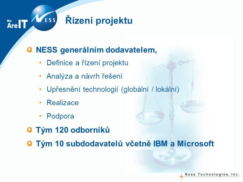 Řízení projektu NESS generálním dodavatelem, Definice a řízení projektu Analýza a návrh řešení Upřesnění technologií (globální / lokální) Realizace Podpora Tým 120 odborníků Tým 10 subdodavatelů včetně IBM a Microsoft