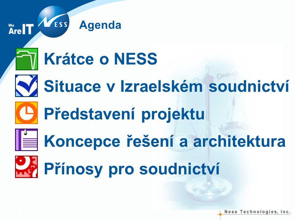 Agenda Krátce o NESS Situace v Izraelském soudnictví Představení projektu Koncepce řešení a architektura Přínosy pro soudnictví