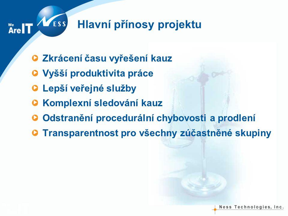 Hlavní přínosy projektu Zkrácení času vyřešení kauz Vyšší produktivita práce Lepší veřejné služby Komplexní sledování kauz Odstranění procedurální chybovosti a prodlení Transparentnost pro všechny zúčastněné skupiny