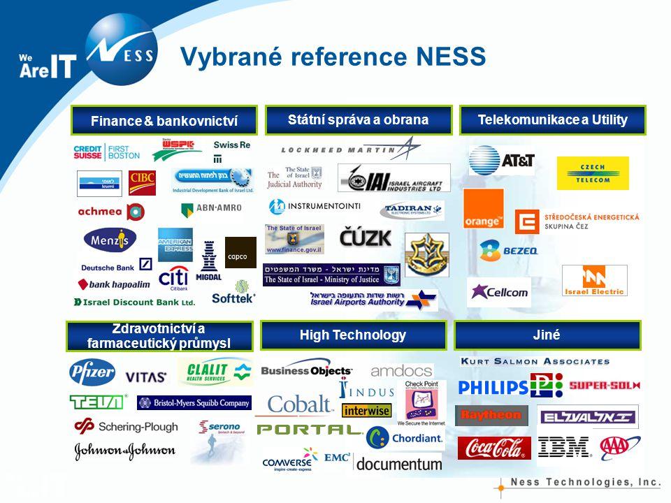 Vybrané reference NESS Finance & bankovnictví Státní správa a obranaTelekomunikace a Utility High TechnologyJiné Zdravotnictví a farmaceutický průmysl