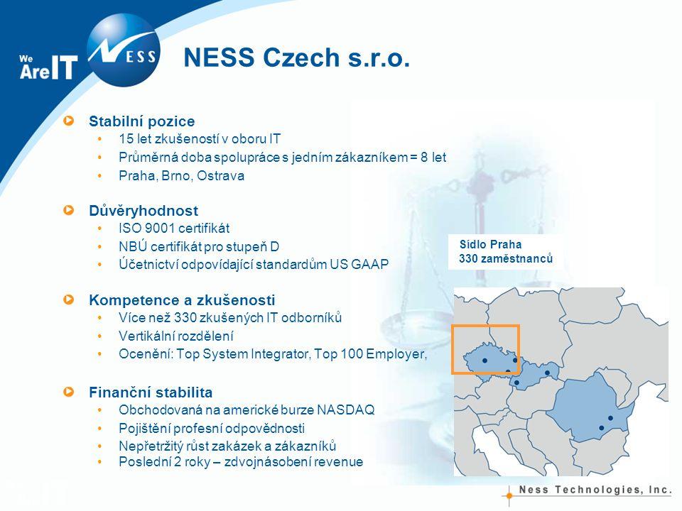 NESS Czech s.r.o. Stabilní pozice 15 let zkušeností v oboru IT Průměrná doba spolupráce s jedním zákazníkem = 8 let Praha, Brno, Ostrava Důvěryhodnost