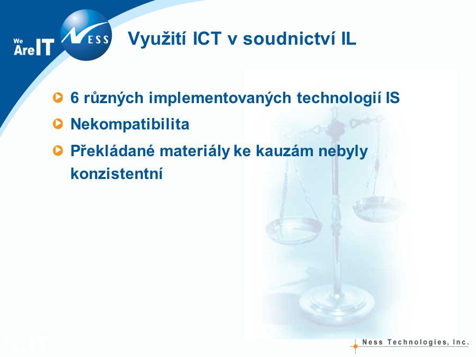 Využití ICT v soudnictví IL 6 různých implementovaných technologií IS Nekompatibilita Překládané materiály ke kauzám nebyly konzistentní