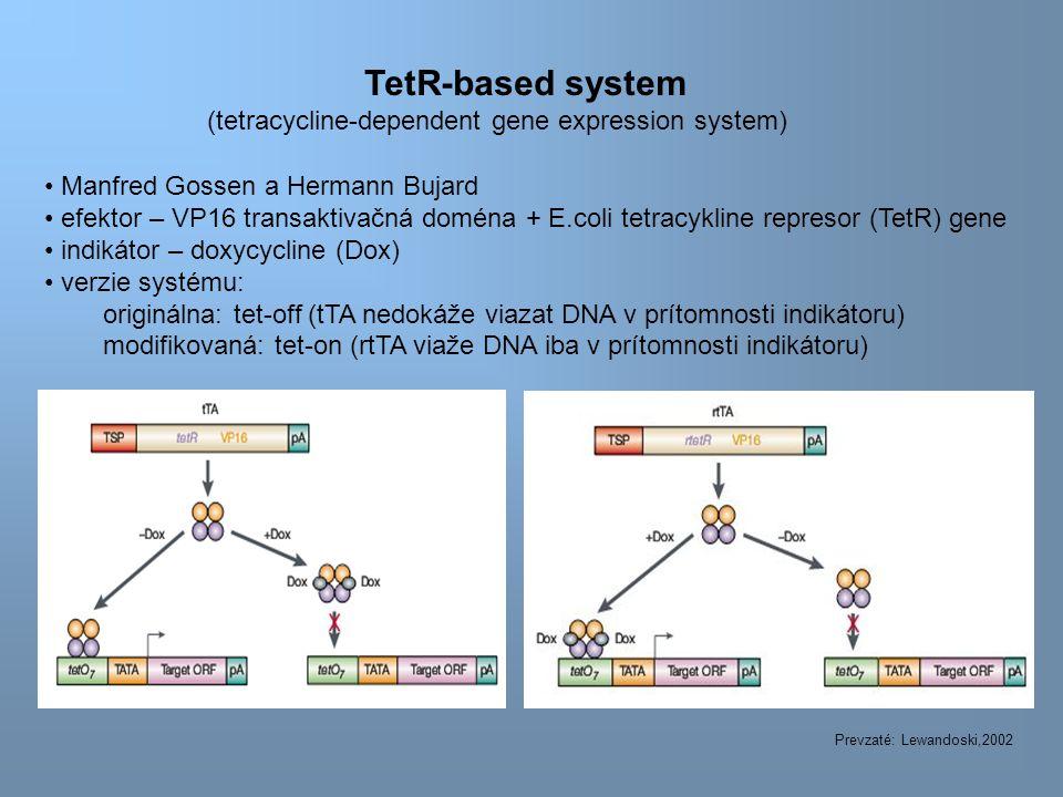 TetR-based system (tetracycline-dependent gene expression system) Manfred Gossen a Hermann Bujard efektor – VP16 transaktivačná doména + E.coli tetracykline represor (TetR) gene indikátor – doxycycline (Dox) verzie systému: originálna: tet-off (tTA nedokáže viazat DNA v prítomnosti indikátoru) modifikovaná: tet-on (rtTA viaže DNA iba v prítomnosti indikátoru) Prevzaté: Lewandoski,2002