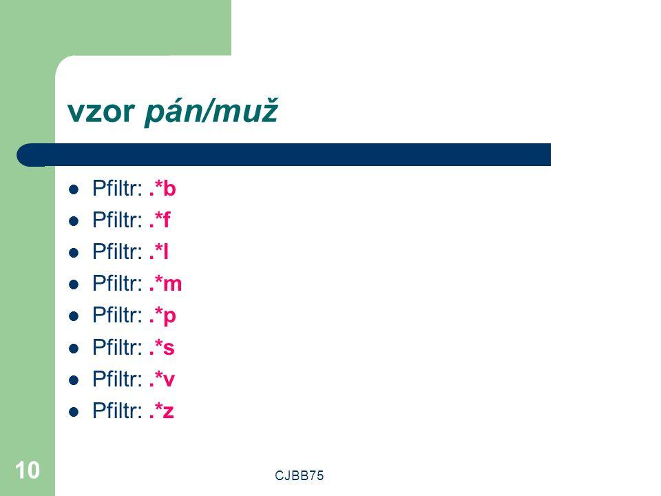 CJBB75 10 vzor pán/muž Pfiltr:.*b Pfiltr:.*f Pfiltr:.*l Pfiltr:.*m Pfiltr:.*p Pfiltr:.*s Pfiltr:.*v Pfiltr:.*z