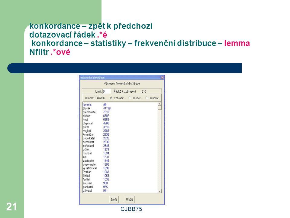 CJBB75 21 konkordance – zpět k předchozí dotazovací řádek.*é konkordance – statistiky – frekvenční distribuce – lemma Nfiltr.*ové