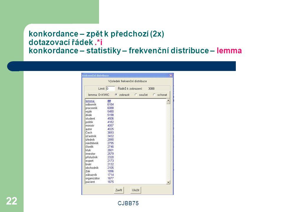 CJBB75 22 konkordance – zpět k předchozí (2x) dotazovací řádek.*i konkordance – statistiky – frekvenční distribuce – lemma