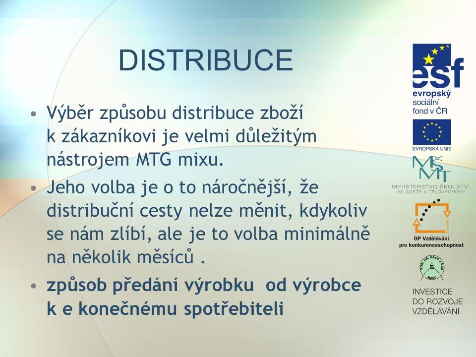DISTRIBUCE Výběr způsobu distribuce zboží k zákazníkovi je velmi důležitým nástrojem MTG mixu. Jeho volba je o to náročnější, že distribuční cesty nel
