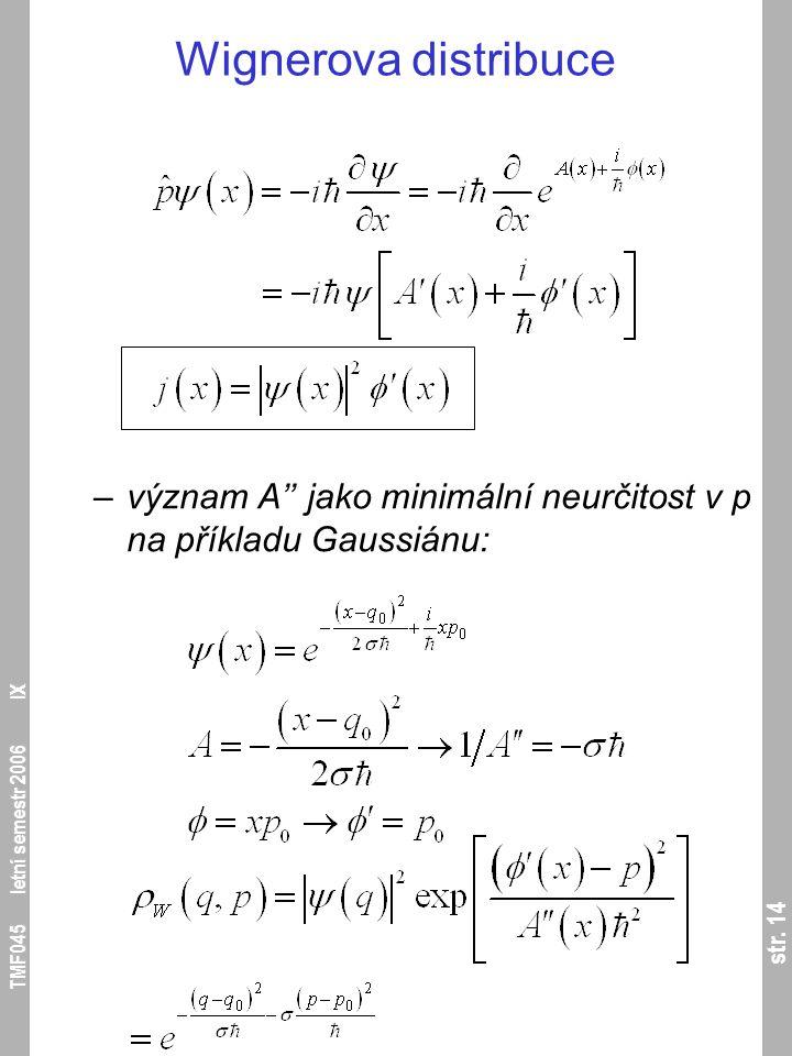 str. 14 TMF045 letní semestr 2006 IX Wignerova distribuce –význam A'' jako minimální neurčitost v p na příkladu Gaussiánu: