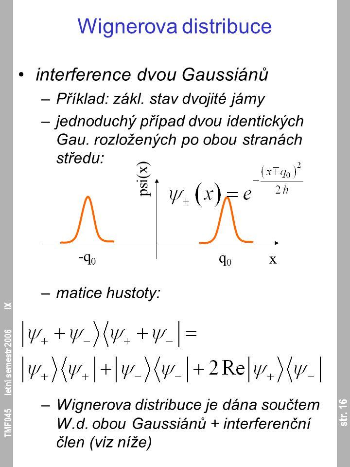 str. 16 TMF045 letní semestr 2006 IX Wignerova distribuce interference dvou Gaussiánů –Příklad: zákl. stav dvojité jámy –jednoduchý případ dvou identi