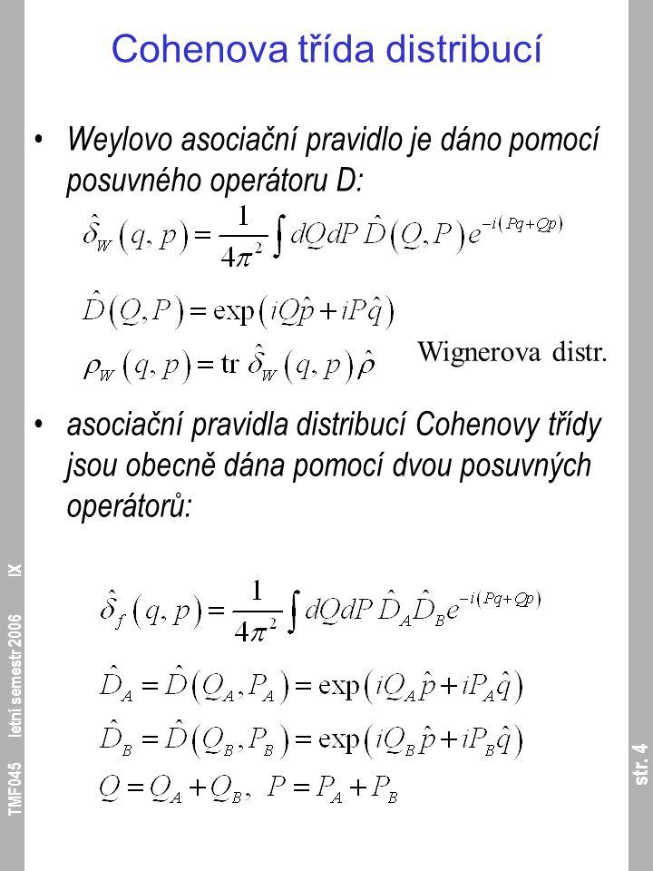 str. 4 TMF045 letní semestr 2006 IX Cohenova třída distribucí Weylovo asociační pravidlo je dáno pomocí posuvného operátoru D: asociační pravidla dist