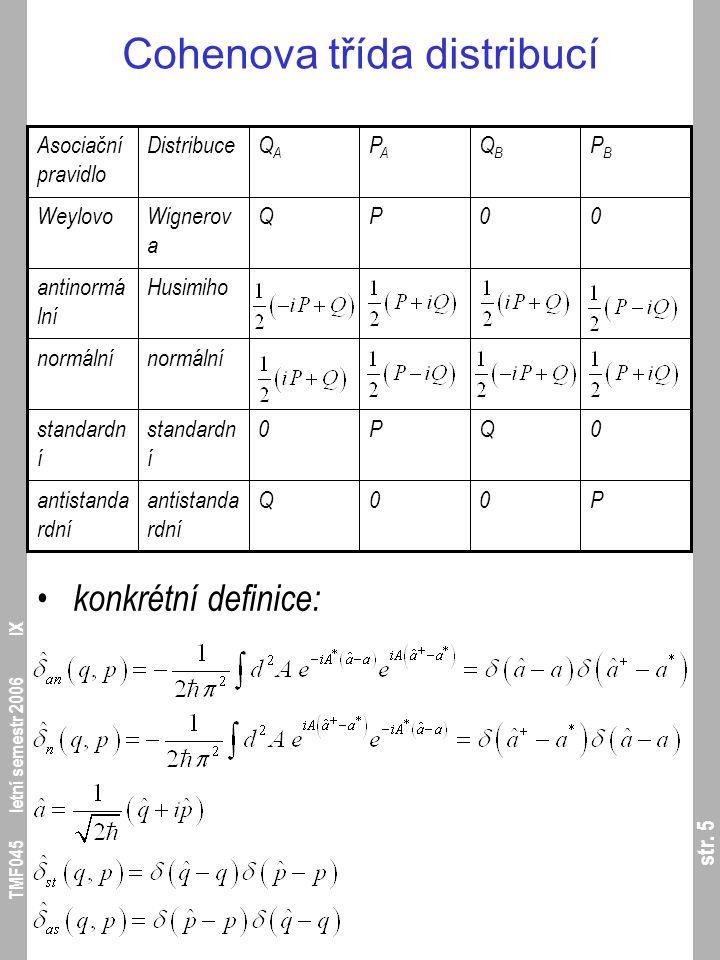 str. 5 TMF045 letní semestr 2006 IX Cohenova třída distribucí konkrétní definice: P00Qantistanda rdní 0QP0standardn í normální Husimihoantinormá lní 0