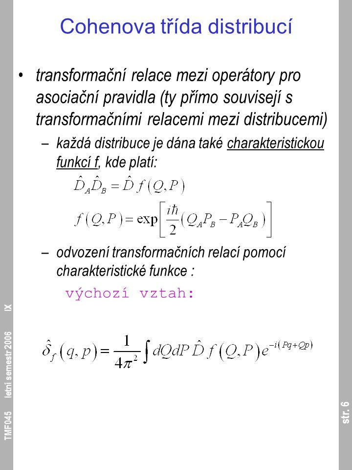 str. 7 TMF045 letní semestr 2006 IX Cohenova třída distribucí integrální transformace: – dosazení