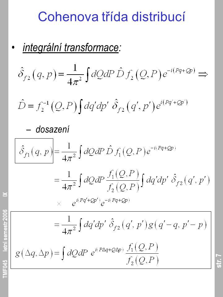 str. 28 TMF045 letní semestr 2006 IX Wignerova reprezentace kvantové mechaniky