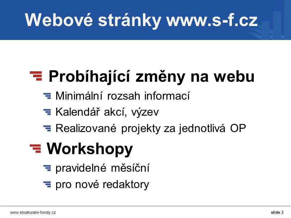 www.strukturalni-fondy.cz Webové stránky www.s-f.cz Probíhající změny na webu Minimální rozsah informací Kalendář akcí, výzev Realizované projekty za jednotlivá OP Workshopy pravidelné měsíční pro nové redaktory slide 3