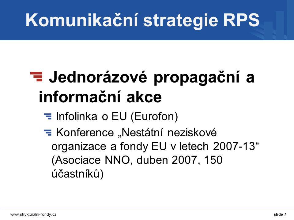"""www.strukturalni-fondy.cz Komunikační strategie RPS Jednorázové propagační a informační akce Infolinka o EU (Eurofon) Konference """"Nestátní neziskové o"""