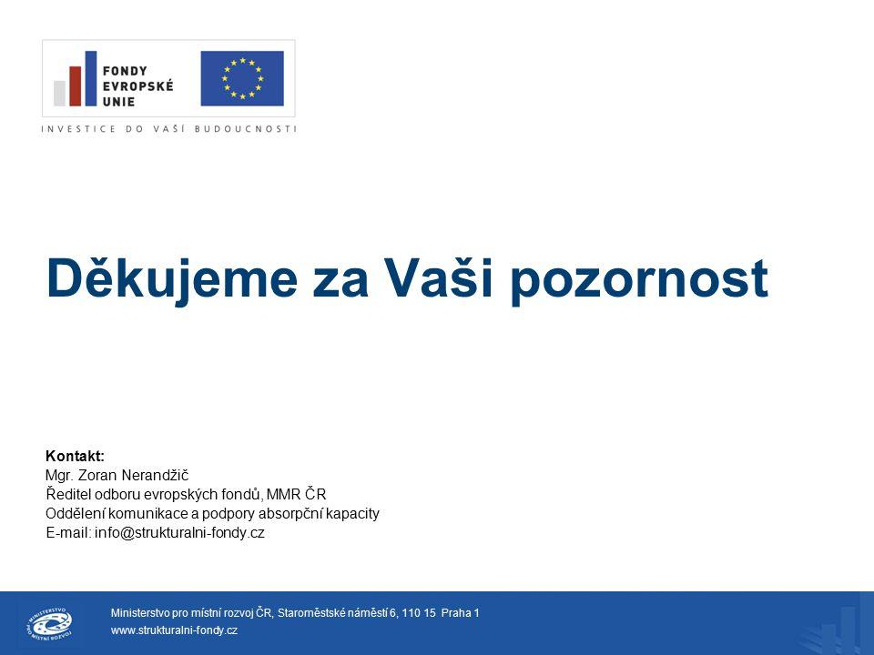 Děkujeme za Vaši pozornost Kontakt: Mgr. Zoran Nerandžič Ředitel odboru evropských fondů, MMR ČR Oddělení komunikace a podpory absorpční kapacity E-ma