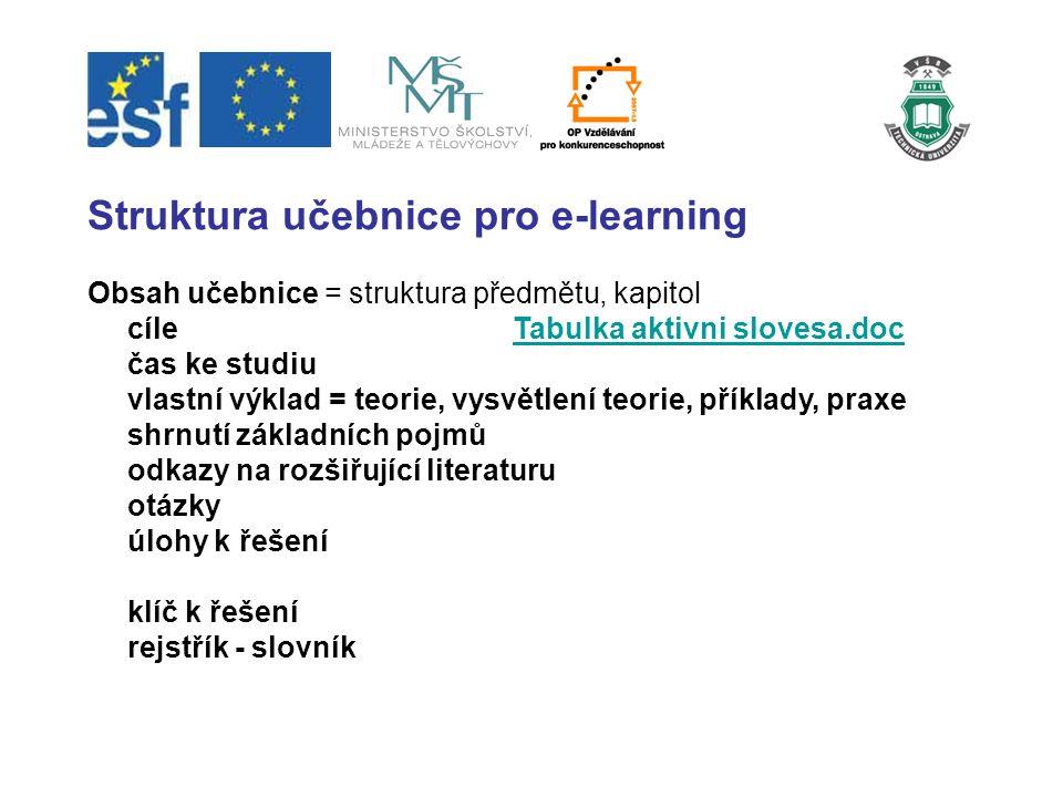 Struktura učebnice pro e-learning Obsah učebnice = struktura předmětu, kapitol cíleTabulka aktivni slovesa.docTabulka aktivni slovesa.doc čas ke studi