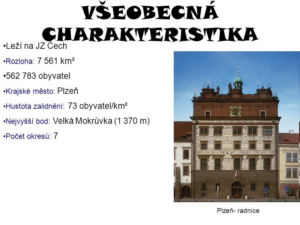 VŠEOBECNÁ CHARAKTERISTIKA Leží na JZ Čech Rozloha: 7 561 km² 562 783 obyvatel Krajské město: Plzeň Hustota zalidnění: 73 obyvatel/km² Nejvyšší bod: Ve