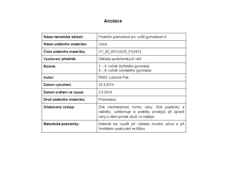 Anotace Název tematické oblasti: Finanční gramotnost pro vyšší gymnázium 3 Název učebního materiálu:Cena Číslo učebního materiálu: VY_62_INOVACE_FG041