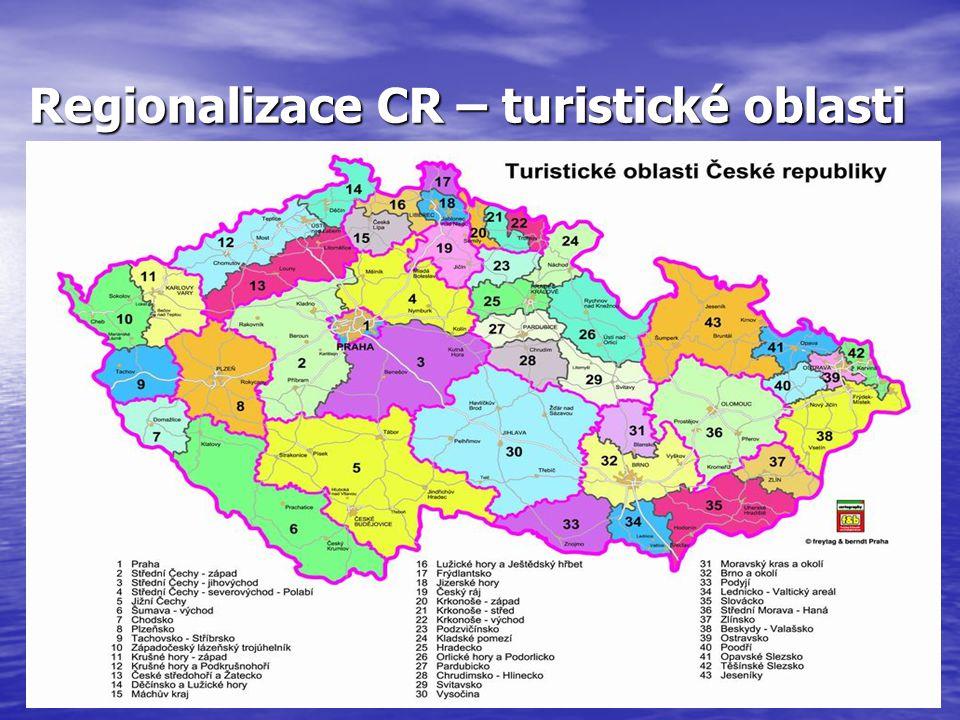 Regionalizace CR – turistické oblasti