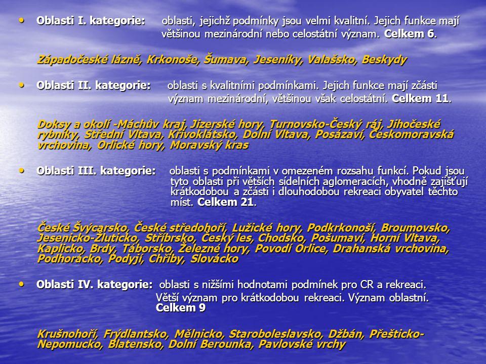 Oblasti I. kategorie: oblasti, jejichž podmínky jsou velmi kvalitní.