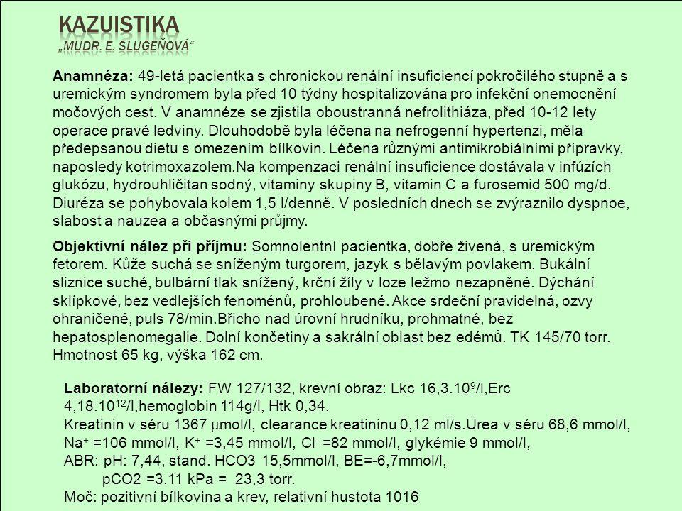 -25 -20 -15 -10 -5 0 5 10 15 20 25 30 10 20 30 40 50 60 70 80 90 P CO 2 torr Base Excess mmol/l pH=7,1 pH=7,2 pH=7,3 pH=7,37 pH=7,43 pH=7,5 pH=7,6 Akutní metabolická acidóza Akutní metabolická alkalóza Akutní respirační alkalóza Akutní respirační acidóza Ustálená metabolická alkalóza Ustálená metabolická acidóza Ustálená respirační alkalóza Ustálená respirační acidóza pH=7,44 pCO2=23,3 torr BE=-6,7mmol/l Nález svědčí pro plně kompenzovanou respirační alkalózu (vyvolanou drážděním dechového centra toxicitou urey a hrozícím edémem mozku), kombinovanou s renální metabolickou acidózou (korigovanou infúzemi bikarbonátů)