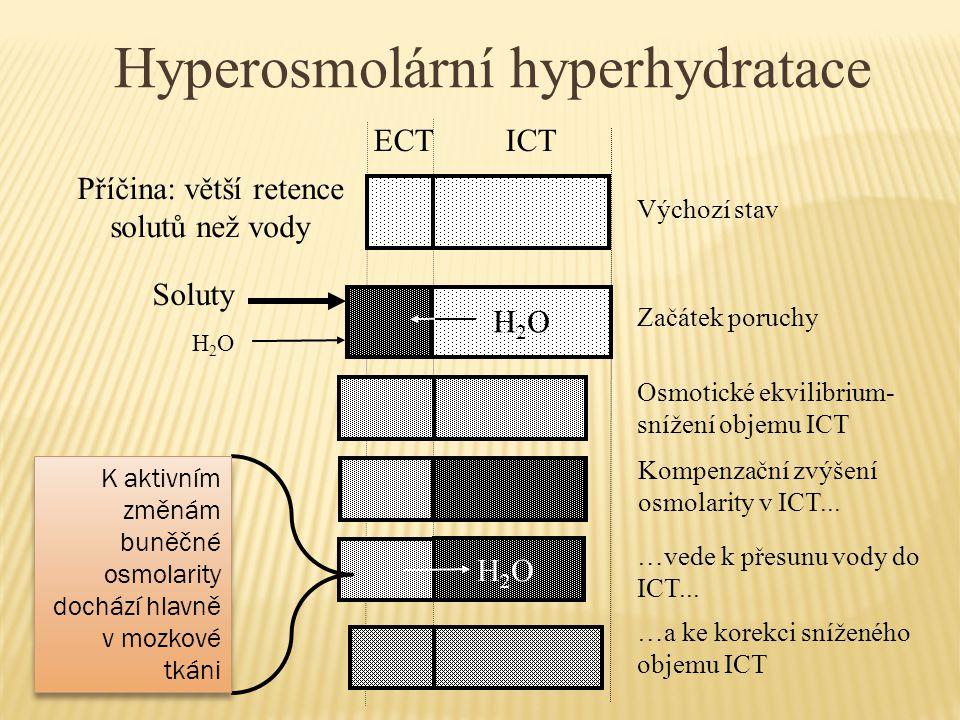 Hyperosmolární hyperhydratace H2OH2O Příčina: větší retence solutů než vody ECT ICT Soluty Výchozí stav Začátek poruchy Osmotické ekvilibrium- snížení