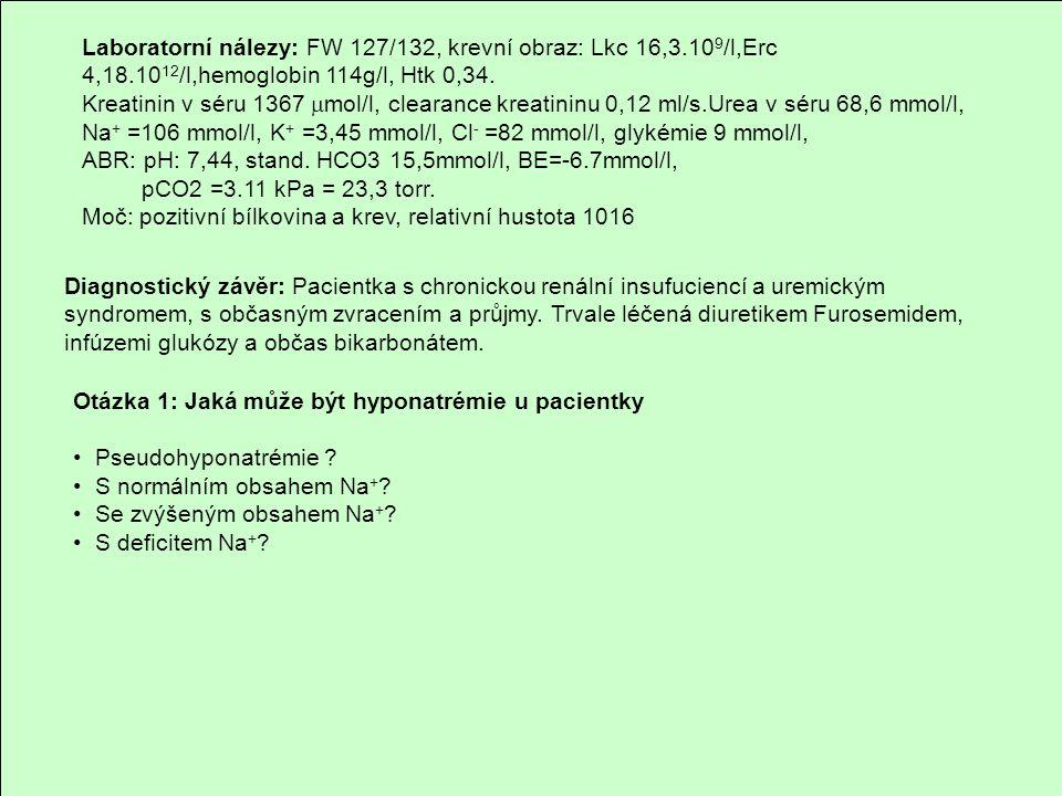 Extracelulární tekutina Na + H2OH2O H2OH2O H2OH2O H2OH2O H2OH2O H2OH2O H2OH2O H2OH2O H2OH2O Plazmatická koncentrace Na + Extracelulární dehydratace Extracelulární edém Nadbytek H 2 O % hypernatrémie hyponatrémie normonatrémie (140 mmol/l)