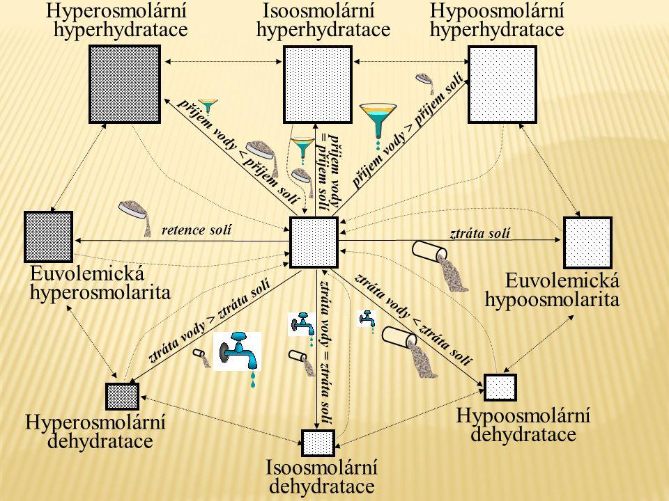 Hypoosmolární dehydratace Hypoosmolární hyperhydratace Hyperosmolární dehydratace Isoosmolární hyperhydratace Isoosmolární dehydratace Euvolemická hyp