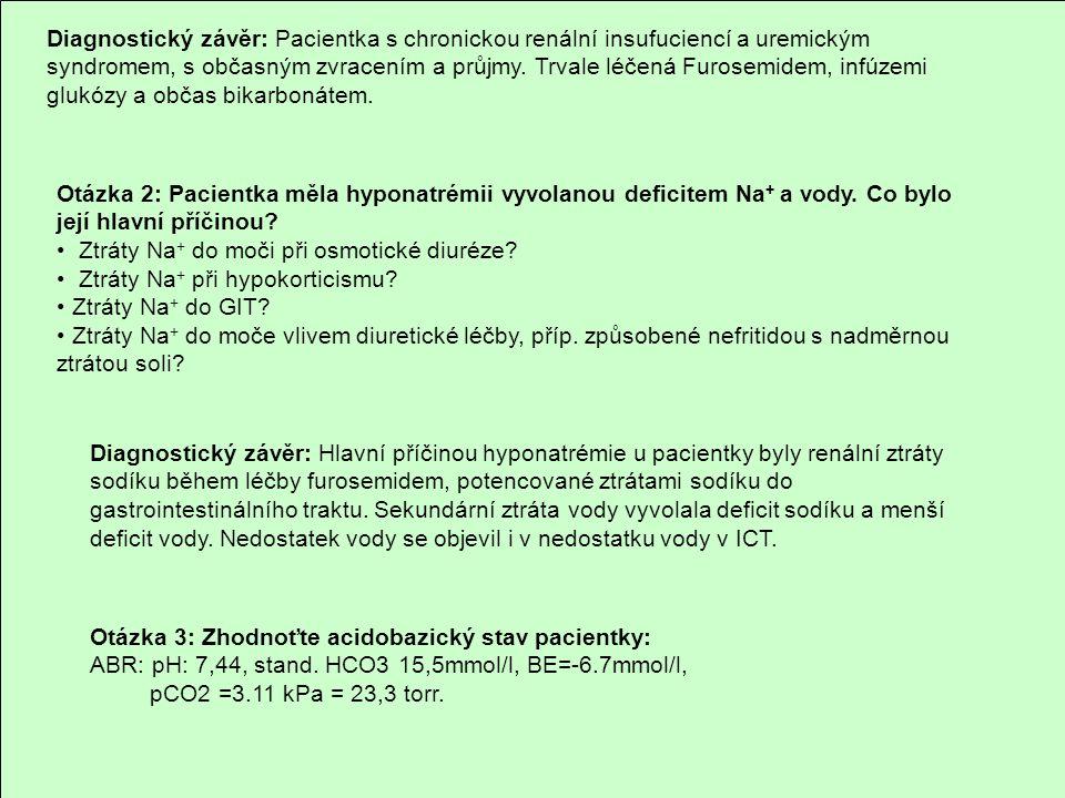 Diagnostický závěr: Pacientka s chronickou renální insufuciencí a uremickým syndromem, s občasným zvracením a průjmy. Trvale léčená Furosemidem, infúz
