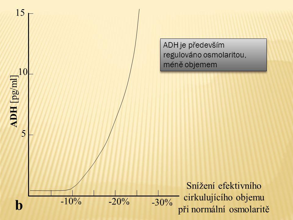 ADH [pg/ml] -10% -20% -30% Snížení efektivního cirkulujícího objemu při normální osmolaritě 5 10 15 b ADH je především regulováno osmolaritou, méně ob
