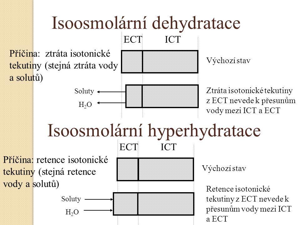 Isoosmolární dehydratace ECT ICT Výchozí stav Příčina: ztráta isotonické tekutiny (stejná ztráta vody a solutů) Ztráta isotonické tekutiny z ECT neved