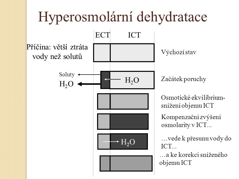 Hyperosmolární dehydratace H2OH2O H2OH2O Příčina: větší ztráta vody než solutů ECT ICT H2OH2O Výchozí stav Začátek poruchy Osmotické ekvilibrium- sníž