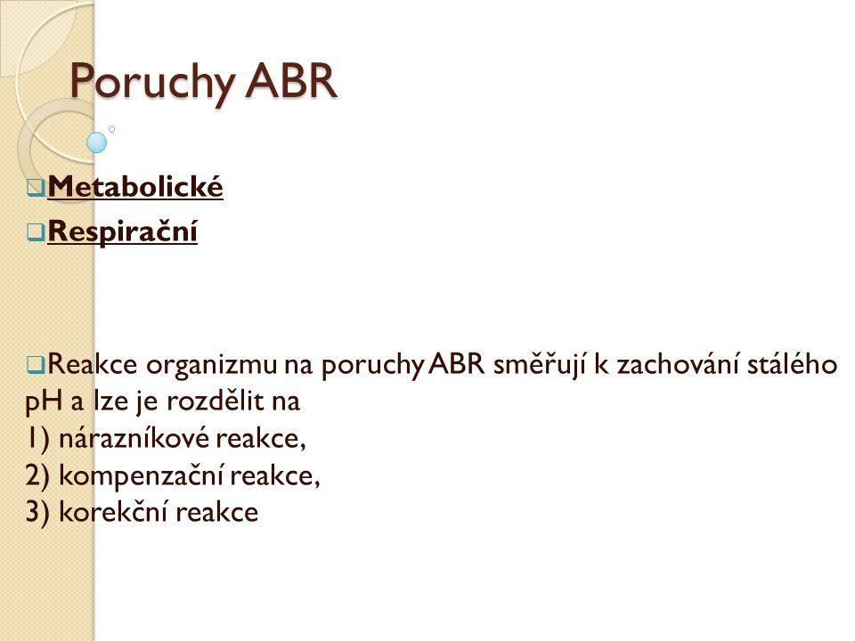 Poruchy ABR  Metabolické  Respirační  Reakce organizmu na poruchy ABR směřují k zachování stálého pH a lze je rozdělit na 1) nárazníkové reakce, 2)